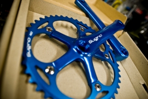 Sugino Cranks in blue, red and black $235 w/o BB